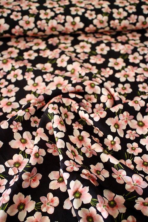 Rayon - Soft Blossom Navy - 1/2 metre