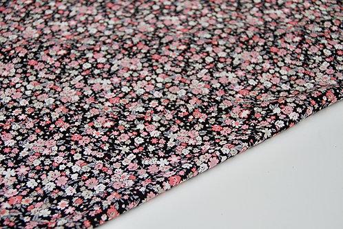 Rayon Poplin - Ditsy Pink Floral Black - 1/2 metre