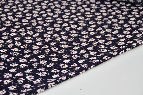 Rayon Poplin - White Cherry Blossom Navy - 1/2 metre