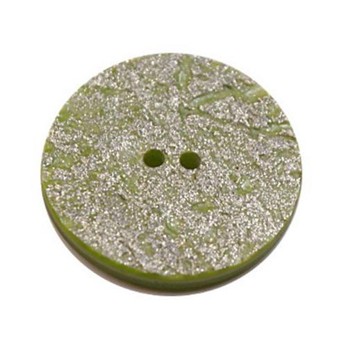 Acrylic Button 2 Hole Metallic 14mm Sage / Silver