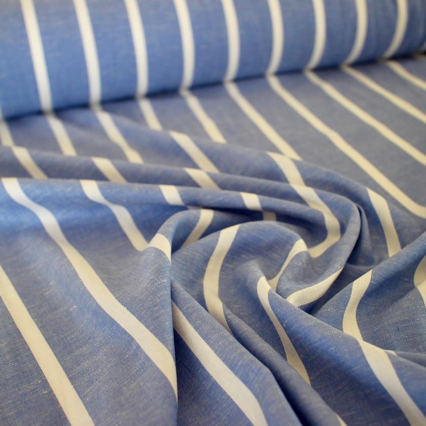 Viscose Linen - Stripe Cornflo