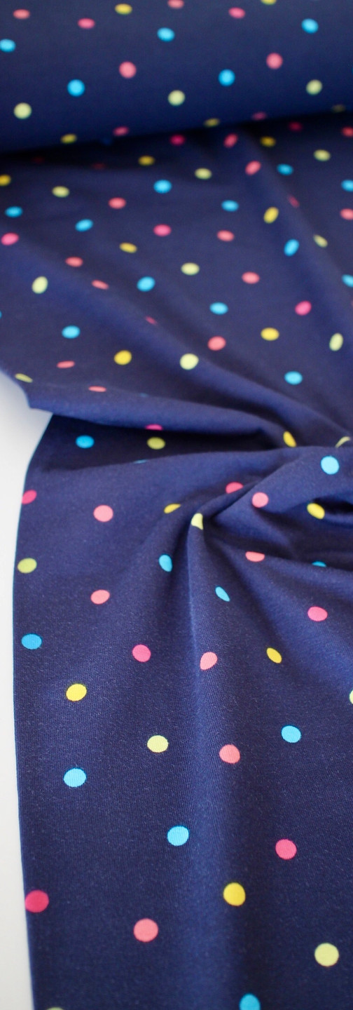 Cotton Jersey - Colourful Polka Dots Navy