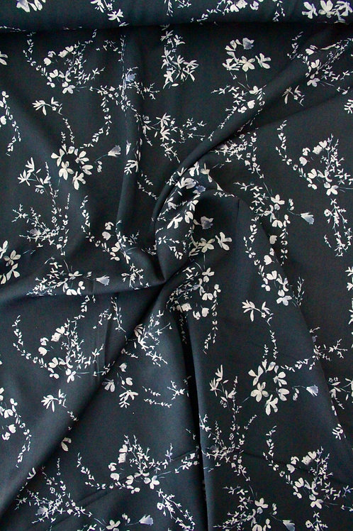 END OF BOLT 1.9m Rayon - Delicate Vine Navy