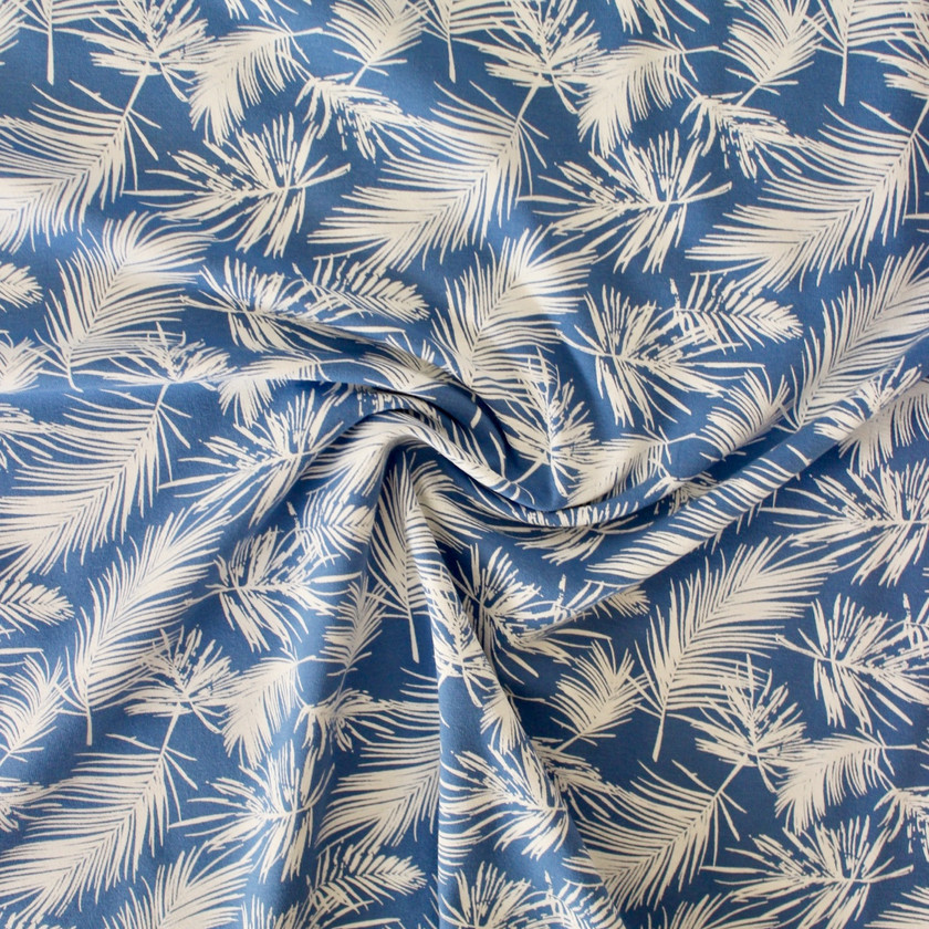 Cotton Jersey - Cornflower Blue Leaves
