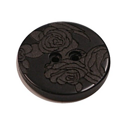 Acrylic Button 2 Hole Engraved 18mm Black