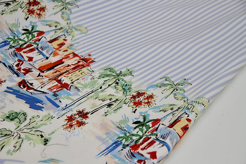 Roberto Gabbana - Stretch Cotton Border Print - 1/2 metre
