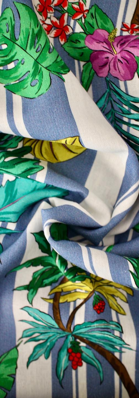 Viscose Linen - Stripey Palms Blue