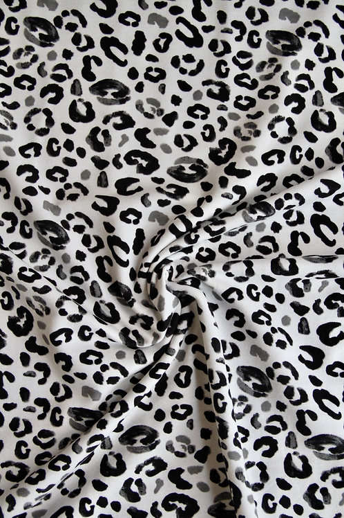 French Terry - Grey Leopard - 1/2 metre