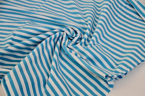 0.6m Cotton Jersey - White & Turquoise Stripes