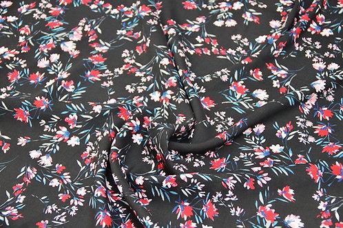 Rayon - Wild Flowers Black - 1/2 metre