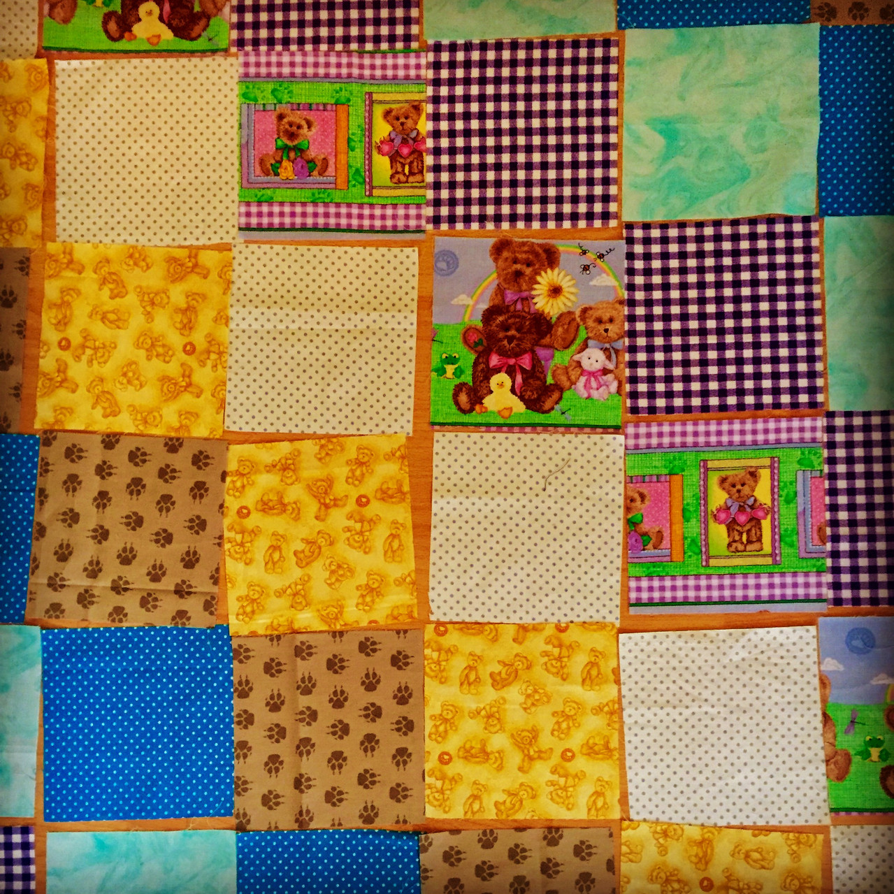A quilt is a good first project to sew straight lines & joining seams.