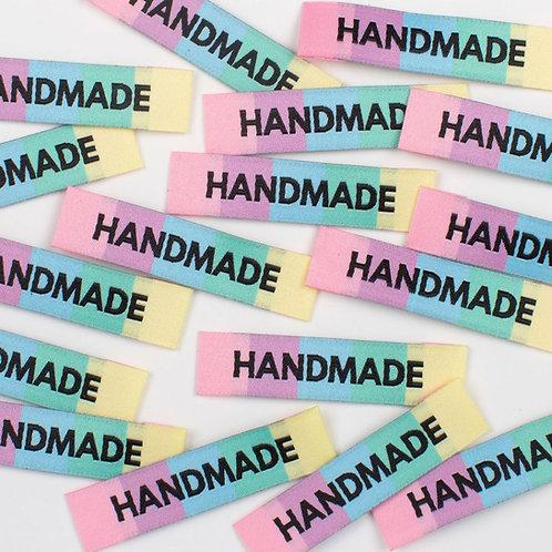 """HANDMADE"" Rainbow Woven Labels 8 Pack"
