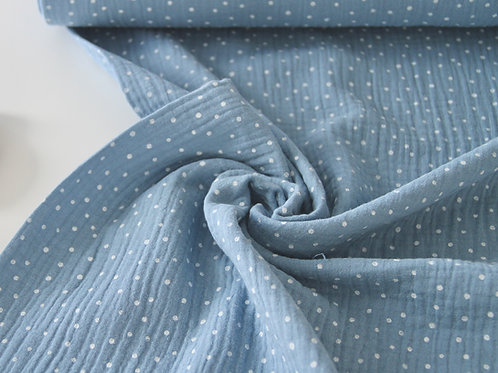 Cotton Double Gauze - Little Dots Light Blue - 1/2 metre
