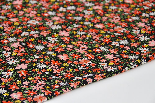 Rayon Poplin - Ditsy Red Floral Black - 1/2 metre