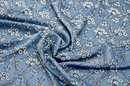 Rayon - Floral Sketch Steel Blue - 1/2 metre