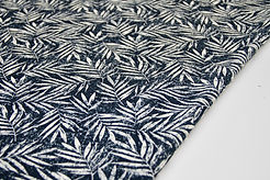 Viscose Linen - Palm Leaves Navy - 1/2 metre
