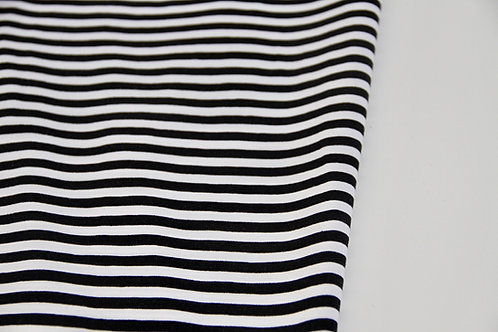 Cotton Jersey - Stripe Black & White - 1/2 metre