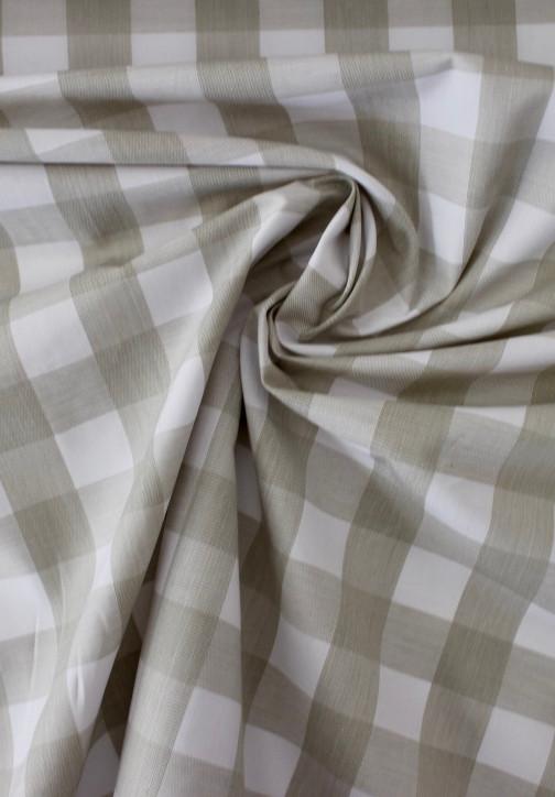 Cotton - Gingham Beige White
