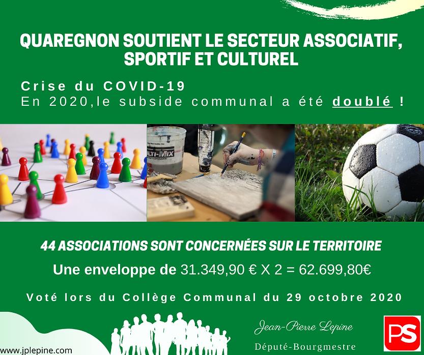Encart Subside associations Quaregnon JP