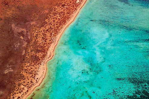 aerial shot ningaloo reef
