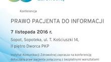 """Transmisja konferencji """"Prawo Pacjenta do informacji"""""""