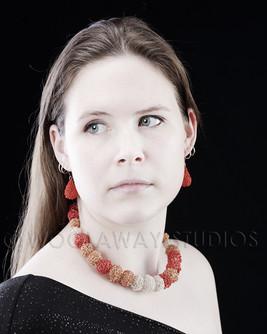 Crochet bead Neckpiece and earrings