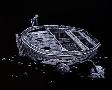 Scraperboard etching of an old row boat.
