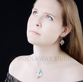 Square rainbow pendant and earrings