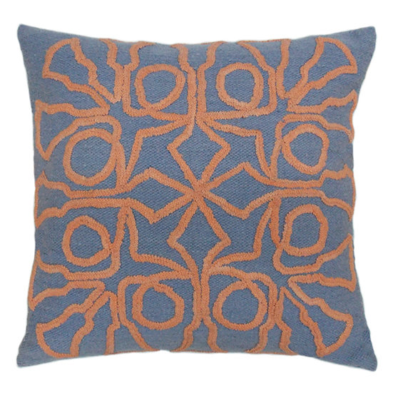 Trumpet Bells Pillow, Coral/Blue