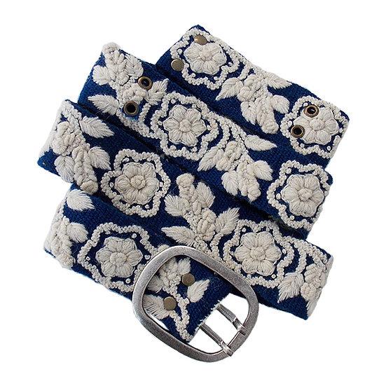 Two-Tone Belt, blue/cream