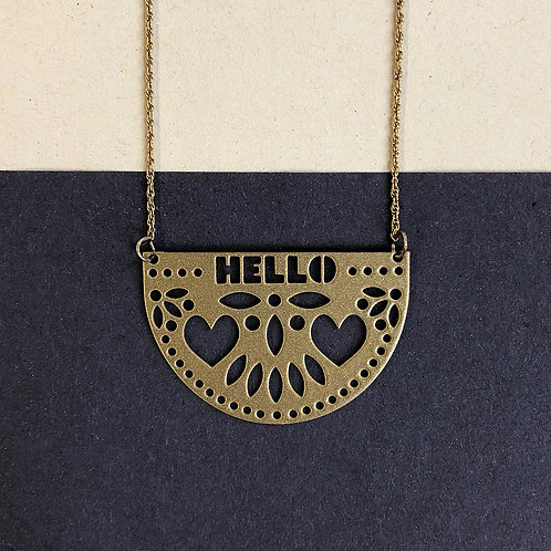 HELLO pendant, gold