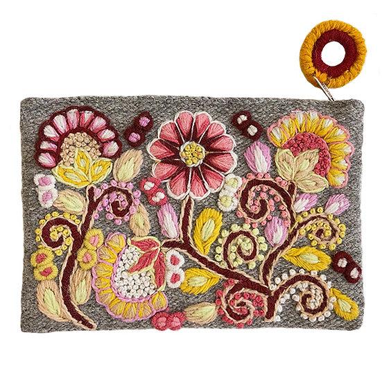 Heather grey purse, 5.5 x 8 in.