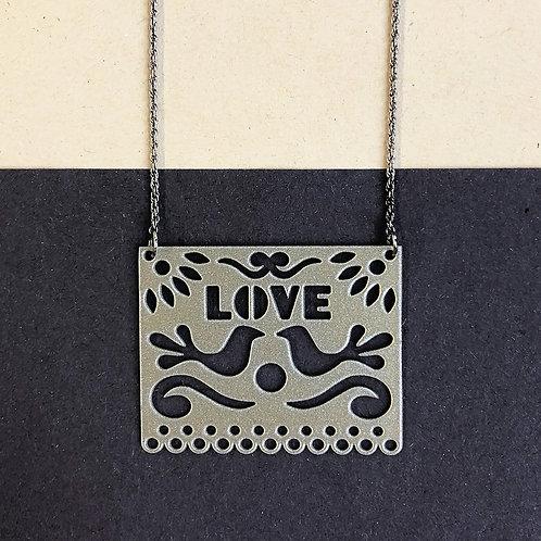 LOVE pendant, silver