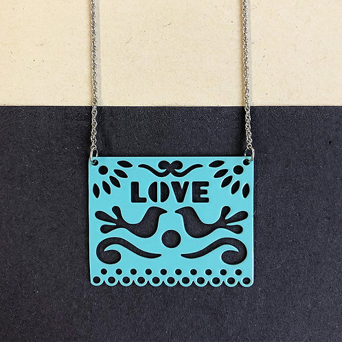 LOVE pendant, turquoise