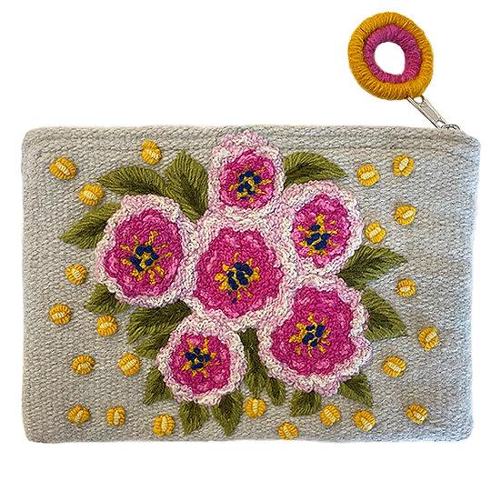 Pink Bouquet purse, 5.5 x 8 in.