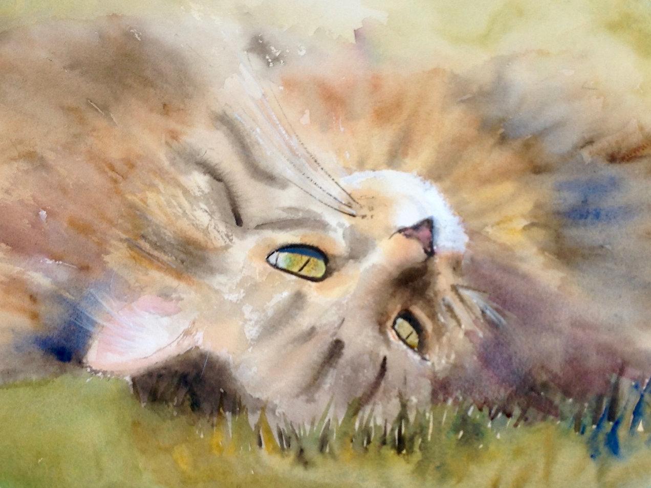 animal paintings nature inspired art cat painting u0027billy u0027