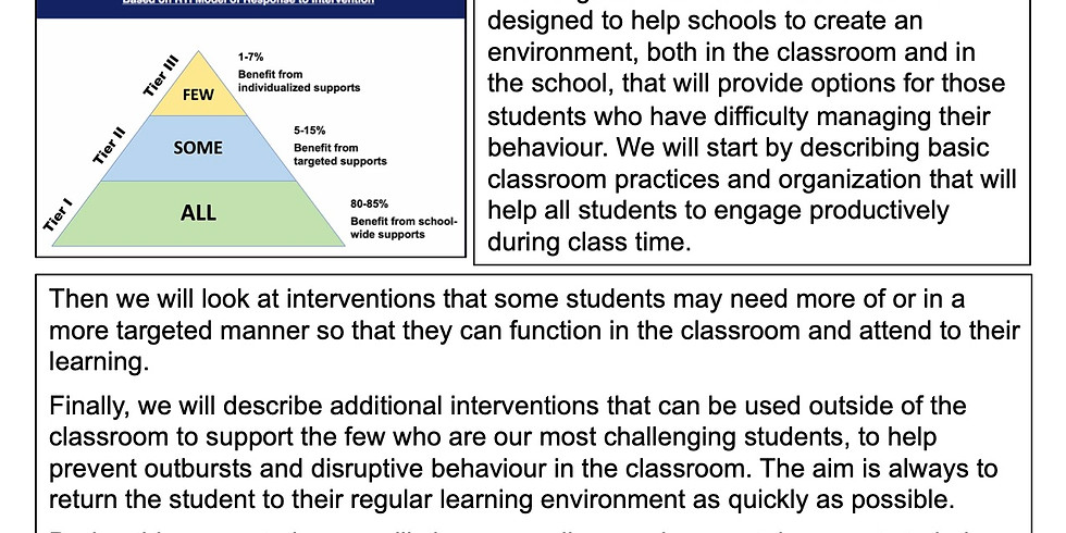 A TARGETED  INTERVENTION CONTINUUM FOR MANAGING BEHAVIOUR