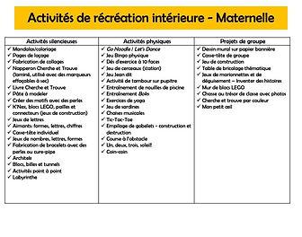 Indoor Recess Activities FR - Kindergart