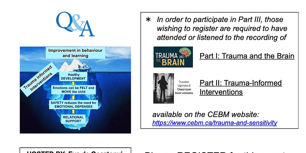 Part 3 Trauma and the Brain: Q & A follow up to parts 1 & 2