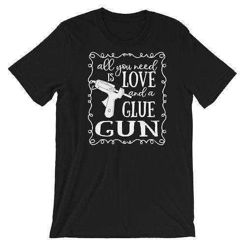 Love and a Glue Gun Shirt, Wreath Shirt, Craft Shirt, T-Shirt. Casual Tops