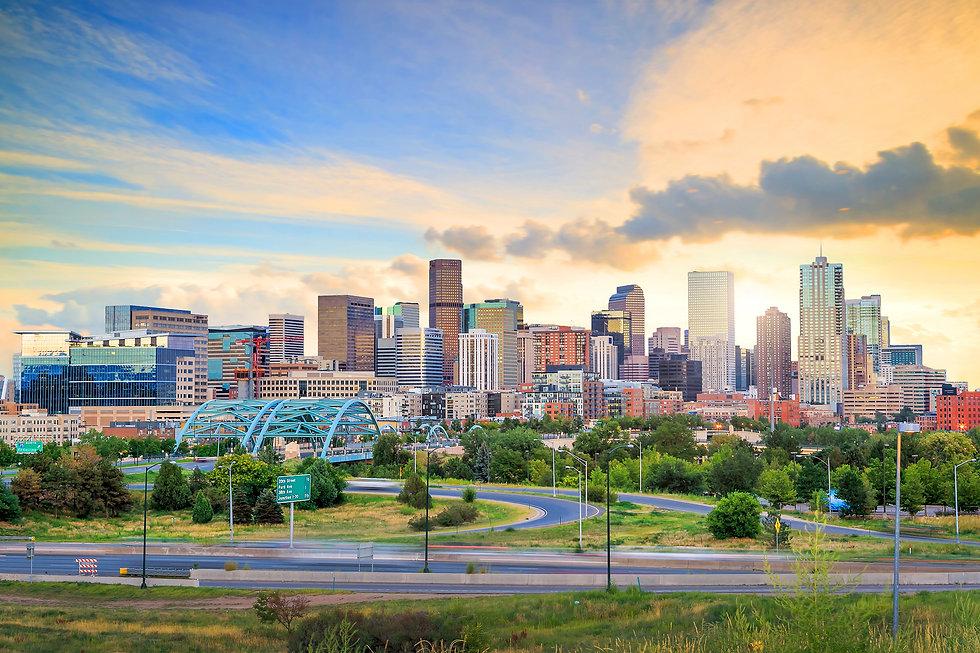 Panorama of Denver skyline long exposure