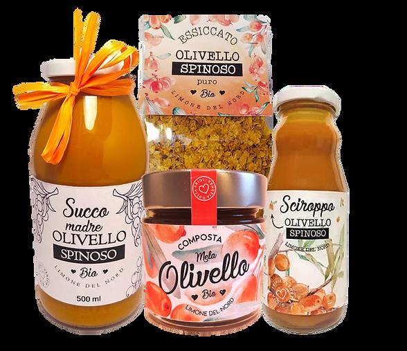 Prodotti a base di olivello spinoso: Succo puro di olivello spinoso, Sciroppo di olivello spinoso, Composta di olivello spinoso, Essiccato di olivellos spinoso