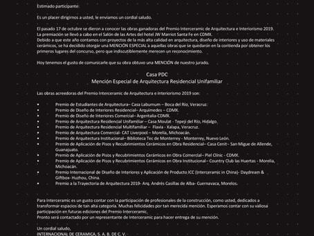 Premios Interceramic de Arquitectura e Interiorismo 2019.