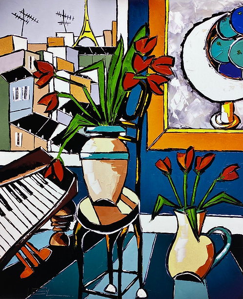 THE OLD PIANO WITH TWO VASES OF TULIPS WITH BLUE ORANGES ( GICLÉE )