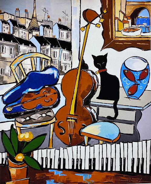 LE VIEUX PIANO AU VIOLON.... CEL IN PARIS & BLACK LE CHAT ( GICLÉE )