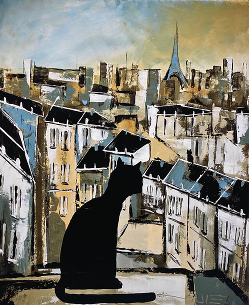 BLACK CATS ON PARIS ROOFTOPS ( GICLÉE