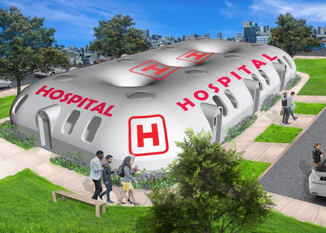 Hospital in park-like setting
