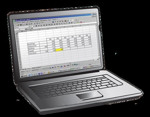 Laptop displaying S&OP data and metrics
