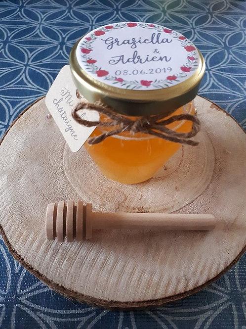 Pot de miel 90 grammes étiquette kraft