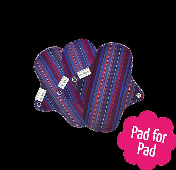 Eco Femme 鮮艷色19cm布衛生護墊3片裝(不含防漏層)